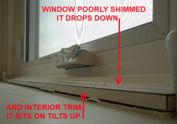 Insufficient shimming of bad window replacement