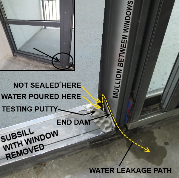 Bad window end dam being water tested and failing the test