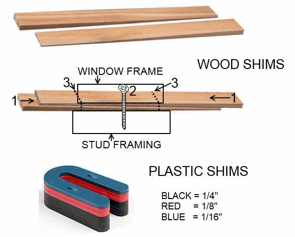 Wood and plastic window shims for residential and commercial window installation
