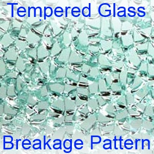 Tempered glass breakage pattern