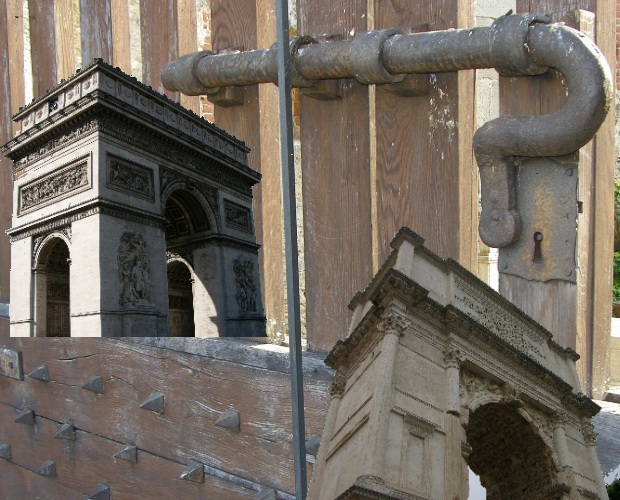 Left: Arc de Triomphe, Paris. Right: Arch of Titus, Rome. Background: City gate, Pisa. Europe is strewn with arches. Originally utilized as the imposing frame for lockable city gates, arches evolved into statements in their own right. They tend to say,