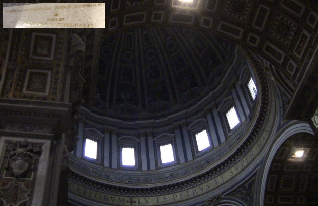 St. Peter's Basilica, The Vatican, claims to be the world's largest Christian house of worship on earth. Indeed, it can house a 13 story building beneath its dome. Even with this amazing size, it still feels the need to compete. Markings on the floor (inset) show the scale of smaller buildings, even of the same faith,
