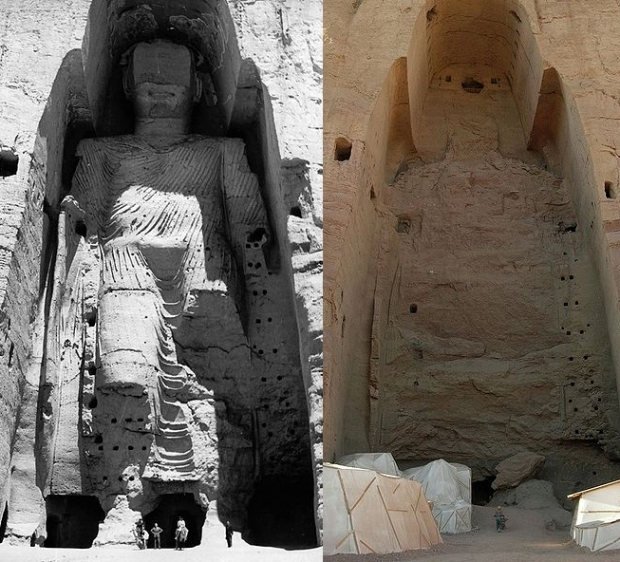 Buddha of Bamiyan, Afghanistan before and after destruction by the Taliban. Although the 55m tall statue is technically not a building, it is as tall as a 16 story building. The Taliban made it an early order of business to destroy this symbol of a competing faith. Image is supplied under a free-use license found here: http://creativecommons.org/licenses/by-sa/3.0/