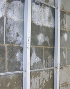 Interior view of the results of the masonry water spray test